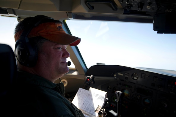 Garry Acree, 82nd Aerial Target Squadron E-9A Widget pilot, scans the horizon during a mission, May 19, at Tyndall Air Force Base. Some of the roles performed by the aircraft include sea surveillance, telemetry and radio relay. (U.S. Air Force photo by Senior Airman Dustin Mullen/Released)