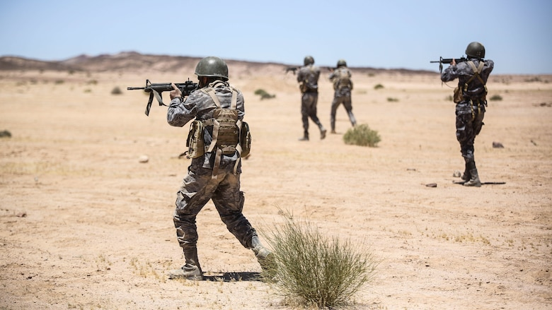 Members of the Jordanian 77th Marines Battalion engage targets during a squad attacks exercise in Al Quweyrah, Jordan, May 19, 2016. Eager Lion is a recurring exercise between partner nations designed to strengthen military-to-military relationships, increase interoperability, and enhance regional security and stability.