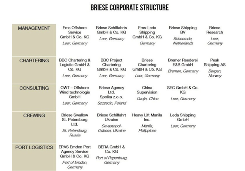 Figure 11.9 Briese corporate structure