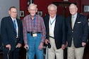 Robin B. Tolson, David Huckabay, Wilmer Plate, and William Toombs, all World War II veterans, attended the annual reunion for the 489th Bomb Group in Little Rock, Ark. on May 20, 2016. Tolson, Huckabay and Plate were in the 489th Bomb Group in Halesworth, England during the war. Toombs was in the 493rd Bombardment Group and served in Debach and Elveden, England. (U.S. Air Force photo by Master Sgt. Laura Siebert/Released)