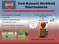 The 908th Airlift Wing 56'ers will be hosting the 2nd Annual Kickball Tournament on August 6 during the Unit Training Activity at Maxwell Air Force Base, Ala. The event will be held in the evening, beginning at 5:30 p.m. at the Softball Complex, and is $40 per team to enter the tournament. An award and trophy for the first place team will be presented. For more information, contact Tech Sgt. Earl Dickerson at 334-953-0543.