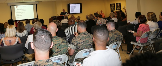 Members of Marine Corps Logistics Command Headquarters attend the annual 101 Critical Days of Summer Stand-Down on 24 May 2016, hosted by Installations, Environmental and Safety Office, LOGCOM.  Each year, LOGCOM employees are reminded how easily accidents can happen if you are not fully aware of what you are doing. With all the fun summer activities, safety awareness can keep you and your family safe.