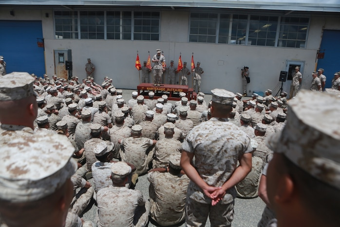 U.S. Marine Corps Gen. Robert Neller, Commandant of the Marine Corps, talks to Marines of 1st Maintenance Battalion, Combat Logistics Regiment 15, 1st Marine Logistics Group on Camp Pendleton, Calif., May 24, 2016. Gen. Neller addressed the future of the Marine Corps and answered questions from the Marines. (U.S. Marine Corps photo by Sgt. Rodion Zabolotniy, Combat Camera, Camp Pendleton/RELEASED)