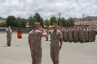 U.S. Marine Corps Sgt. Maj. Anthony Loftus, battalion sergeant major, 1st Maintenance Battalion, Combat Logistics Regiment 15, 1st Marine Logistics Group presents the command to the Commandant of the Marine Corps, Gen. Robert Neller, on Camp Pendleton, Calif., May 24, 2016. Gen. Neller addressed the future of the Marine Corps and answered questions from the Marines. (U.S. Marine Corps photo by Sgt. Rodion Zabolotniy, Combat Camera, Camp Pendleton/RELEASED)