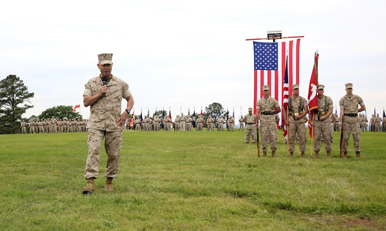 Col. Michael L. Carter assumed command of Chemical Biological Incident Response Force (CBIRF), U.S. Marine Corps Forces Command (MARFORCOM),  from Col. Stephen E. Redifer during a change of command ceremony aboard Naval Support Facility Indian Head, Md., May 18, 2016. Carter thanked Redifer for his outstanding work with CBIRF and said he was thankful for the opportunity to take command of the Nation's premier chemical, biological, radiological, nuclear and high-yield explosives (CBRNE) consequence management and incident response force in readiness. (U.S. Marine Corps by Sgt. Jonathan S. Herrera/Released)