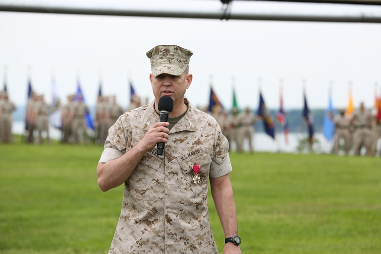 Col. Michael L. Carter assumed command of Chemical Biological Incident Response Force (CBIRF), U.S. Marine Corps Forces Command (MARFORCOM),  from Col. Stephen E. Redifer during a change of command ceremony aboard Naval Support Facility Indian Head, Md., May 18, 2016. Carter thanked Redifer for his outstanding work with CBIRF and said he was thankful for the opportunity to take command of the Nation's premier chemical, biological, radiological, nuclear and high-yield explosives (CBRNE) consequence management and incident response force in readiness. (U.S. Marine Corps Photo by Sgt. Jonathan S. Herrera/Released)