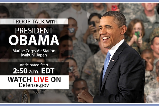 President Barack Obama is scheduled to deliver remarks to service members at Marine Corps Air Station Iwakuni, Japan.