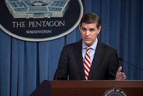 Pentagon Press Secretary Peter Cook conducts a press briefing with reporters at the Pentagon in Washington, D.C., May 26, 2016. DoD photo by Air Force Senior Master Sgt. Adrian Cadiz