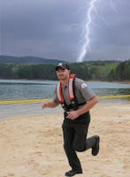 Illustration of Park Ranger Newcomb during a lightning near water.