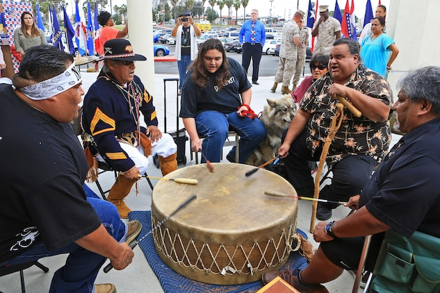 CAMP PENDLETON, Calif. -- Native American Drum players perform during Camp Pendleton's Multi-Cultural Day at the Mainside Patio here, May 26. More than 40 Marines and civilians with Marine Corps Installations - West, 1st Marine Division, 1st Marine Logistics Group and I Marine Expeditionary Force set up booths and exhibits in order to foster a sense of unity among the diverse groups serving within the military.