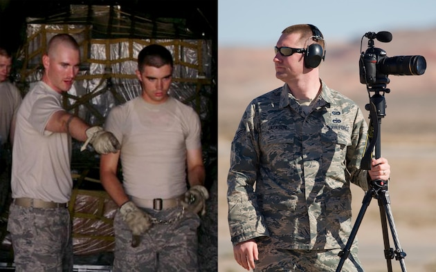 (Left) Airman 1st Class Russ Jackson during his air transportation technical training. (Courtesy Photo)  (Right) Staff Sgt. Russ Jackson, 325th Fighter Wing Public Affairs broadcaster, films on the flightline Feb. 5, at Nellis Air Force Base, Nev. Jackson was among 200 Tyndall Airmen that traveled to Nellis for Red Flag 16-1, a joint-training, full-spectrum readiness exercise designed to provide the most realistic combat training possible. (U.S. Air Force photo by Senior Airman Alex Fox Echols III)