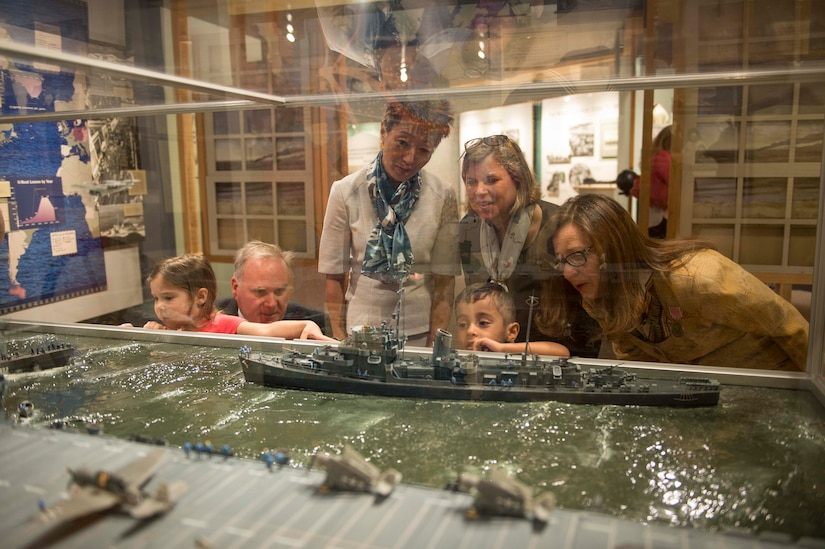 Military family members enjoy exhibits at Hampton Roads Naval Museum following a press conference to launch this year's Blue Star  Museums program, Norfolk, Va., May 26, 2016. Blue Star Museums is a collaboration among the National Endowment for the Arts, Blue Star Families, the Department of Defense and more than 2,000 museums across America to offer free admission to the nation's active duty military members and their families from Memorial Day through Labor Day. Navy photo by Petty Officer 3rd Class Amy M. Ressler