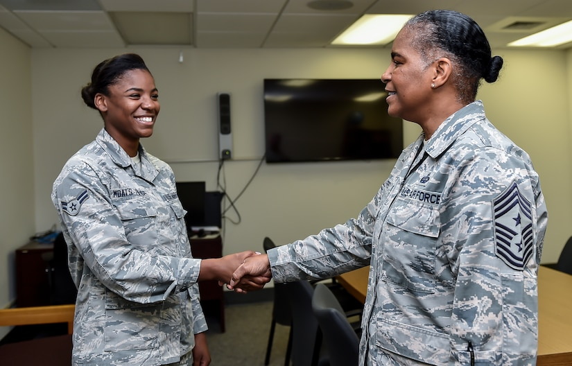 Command Chief Master Sgt. Shelina Frey, Air Mobility Command chief, meets with Airman 1st Class Jalyn Moats-Paige, a 628th Medical Group mental health technician, during her visit to Joint Base Charleston May 22 - 27, 2016. The mental health clinic offers counseling services to service members and adult dependents and runs the Air Force Alcohol and Drug Abuse Prevention Treatment program at JB Charleston. (U.S Air Force Photo/Airman Megan Munoz)