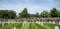 "Soldiers march into Arlington National Cemetery from Joint Base Myer-Henderson Hall to participate in ""Flags In"" at Arlington National Cemetery in Arlington, Va., May 26, 2016. Army photo by Rachel Larue"