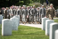 "Soldiers march into Arlington National Cemetery from Joint Base Myer-Henderson Hall to participate in ""Flags In"" at Arlington National Cemetery in Arlington, Va., May 26, 2016. The soldiers are assigned to the 3rd U.S. Infantry Regiment, known as the Old Guard. Each of the cemetery's approximately 230,000 headstones receives a flag for the Memorial Day holiday. Army photo by Rachel Larue"