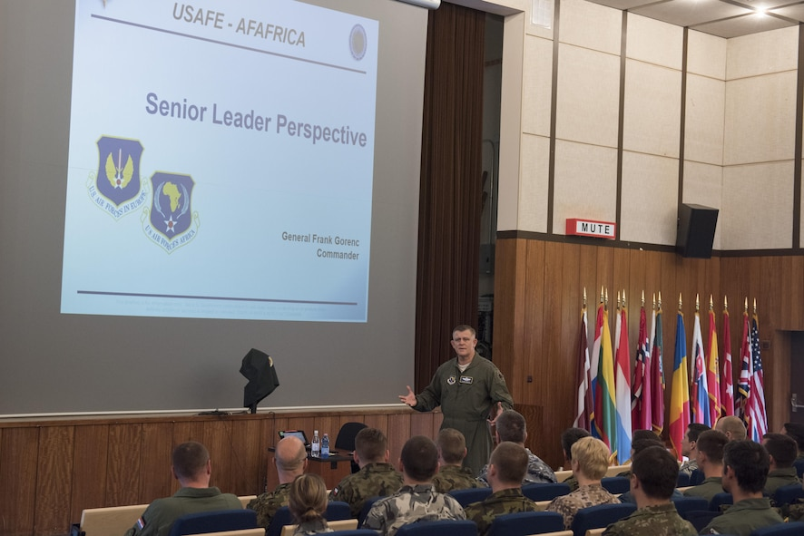 Gen. Frank Gorenc, commander U.S. Air Forces in Europe and Air Forces Africa, spoke to the inaugural class of the Inter-European Air Forces Academy at the Warrior Prep Center, Einsiedlerhof, Germany May 10, 2016. (U.S. Air Force photo by Tech. Sgt. Paul Villanueva/Released)