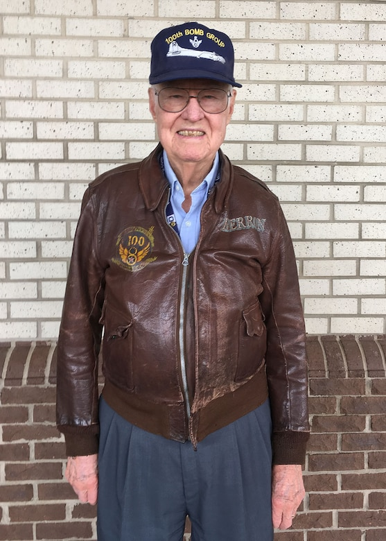 "Lewis Herron, 100th Bombardment Group veteran and former staff sergeant with the 350th Bomb Squadron at Thorpe Abbots, England, during World War II, poses for a photograph April 20, 2016, in North Carolina, USA. Herron was a tail gunner on ""Heaven Sent,"" a B-17 Flying Fortress. The heritage of the 100th Air Refueling Wing began with the 100th BG and the Bloody Hundredth. (Courtesy photo by Timothy McGinnis/Released)"