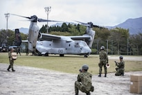 Marines with Marine Medium Tiltrotor Squadron 265, 31st Marine Expeditionary Unit, assist Japan's government in supporting those affected by earthquakes in Kumamoto, Japan, April 18, 2016. President Barack Obama cited the longstanding relationship between the Japanese and U.S. militaries as a powerful example of trust and friendship between the two nations. Marine Corps photo by Cpl. Nathan Wicks