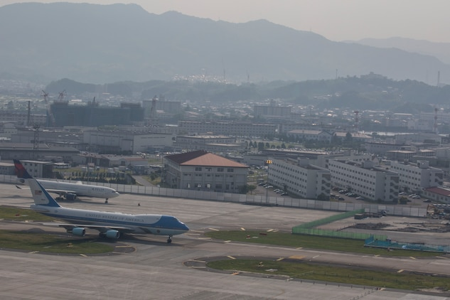 Air Force One lands at Marine Corps Air Station Iwakuni, Japan, May 27, 2016. President Barack Obama visited MCAS Iwakuni and spoke with service members and their families after the Ise-Shima Group of Seven Summit meeting. The G7 Summit is a meeting of the leaders of the G7 countries which include: Japan, the United States, the United Kingdom, France, Germany, Italy, and Canada. (U.S. Marine Corps photo by Cpl. Nathan Wicks/Released)