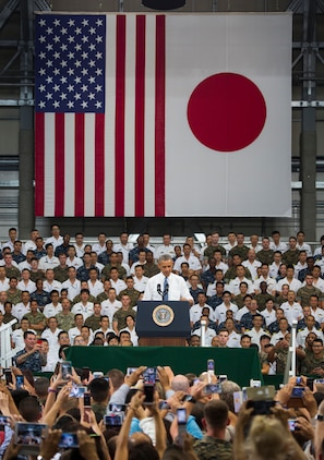 President Barack Obama addresses service members and their families at Marine Corps Air Station Iwakuni, Japan, May 27, 2016. Obama is scheduled to visit the Hiroshima Peace Memorial Park and will be the highest ranking U.S. government official to do so in history. (U.S. Marine Corps photo by Cpl. Justin Fisher/Released)