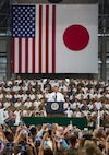 President Barack Obama addresses service members and their families at Marine Corps Air Station Iwakuni, Japan, May 27, 2016. Obama is scheduled to visit the Hiroshima Peace Memorial Park and will be the highest ranking U.S. government official to do so in history. U.S. Marine Corps photo by Cpl. Justin Fisher/Released