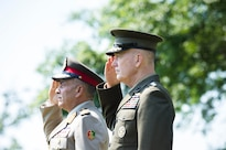 Marine Corps Gen. Joe Dunford, right, chairman of the Joint Chiefs of Staff, salutes during a full honors arrival ceremony to welcome Lt. Gen. Mahmoud Hegazy, chief of staff of Egypt's armed forces, at Joint Base Myer-Henderson Hall, Va., May 26, 2016. DoD photo by Army Staff Sgt. Sean K. Harp