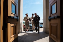 Marine Corps Gen. Joe Dunford, right, chairman of the Joint Chiefs of Staff, walks into the Pentagon with Lt. Gen. Mahmoud Hegazy, chief of staff of Egypt's armed forces, May 26, 2016. DoD photo by Army Staff Sgt. Sean K. Harp