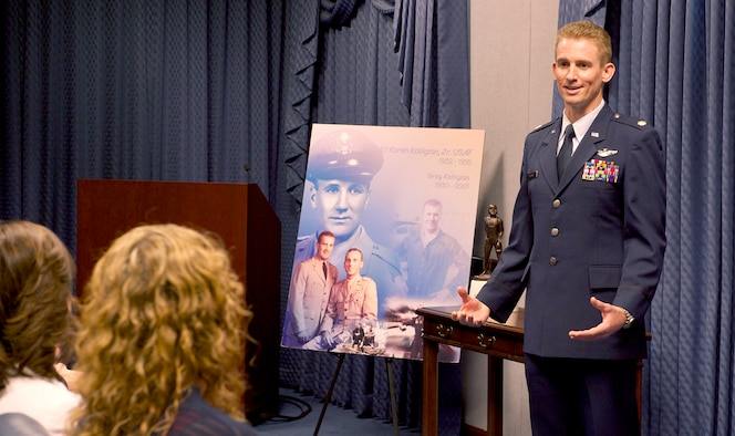 Maj. Jack Nelson is honored during a ceremony at the Pentagon in Washington, D.C., May 25, 2016. Nelson, from the 9th Reconnaissance Wing at Osan Air Base, South Korea, is the recipient of the 2015 Koren Kolligian Jr. Trophy for outstanding airmanship by an aircrew member who, by using extraordinary skills, averted or minimized the seriousness of an aircraft accident. (U.S. Air Force photo/Andy Morataya)