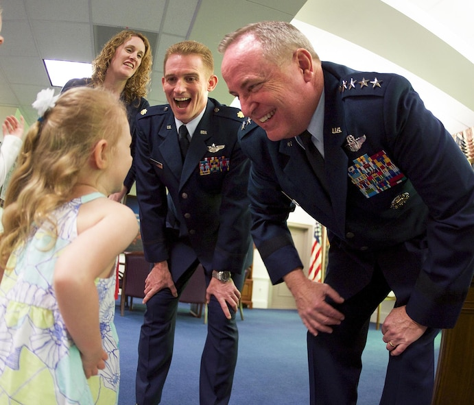 Air Force Chief of Staff Gen. Mark A. Welsh III hosts Maj. Jack Nelson and his family prior to Nelson receiving the 2015 Koren Kolligian Jr. Trophy at the Pentagon in Washington, D.C., May 25, 2016. Nelson, from the 9th Reconnaissance Wing at Osan Air Base, South Korea, received the award for his exceptional piloting skills and ingenuity at a moment of crisis during a mission. (U.S. Air Force photo/Andy Morataya)