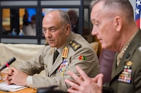 Marine Corps Gen. Joe Dunford, right, chairman of the Joint Chiefs of Staff, and Egyptian Defense Chief Lt. Gen. Mahmoud Hegazy, discuss military business at the Pentagon, May 26, 2016. DoD photo by Army Staff Sgt. Sean K. Harp