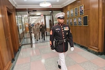 Marine Corps Gen. Joe Dunford, back right, chairman of the Joint Chiefs of Staff, and Egyptian Defense Chief Lt. Gen. Mahmoud Hegazy, walk through the halls of the Pentagon, May 26, 2016. DoD photo by Army Staff Sgt. Sean K. Harp