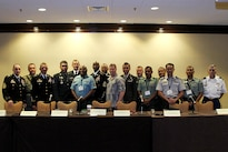Senior enlisted advisors from the United States and various Indo-Asia-Pacific nations pose for a photo at the second annual senior enlisted leaders' forum held in conjunction with the fourth annual Land Power in the Pacific Symposium and Exhibition in Honolulu, May 24, 2016. Army photo by Staff Sgt. Kyle J. Richardson