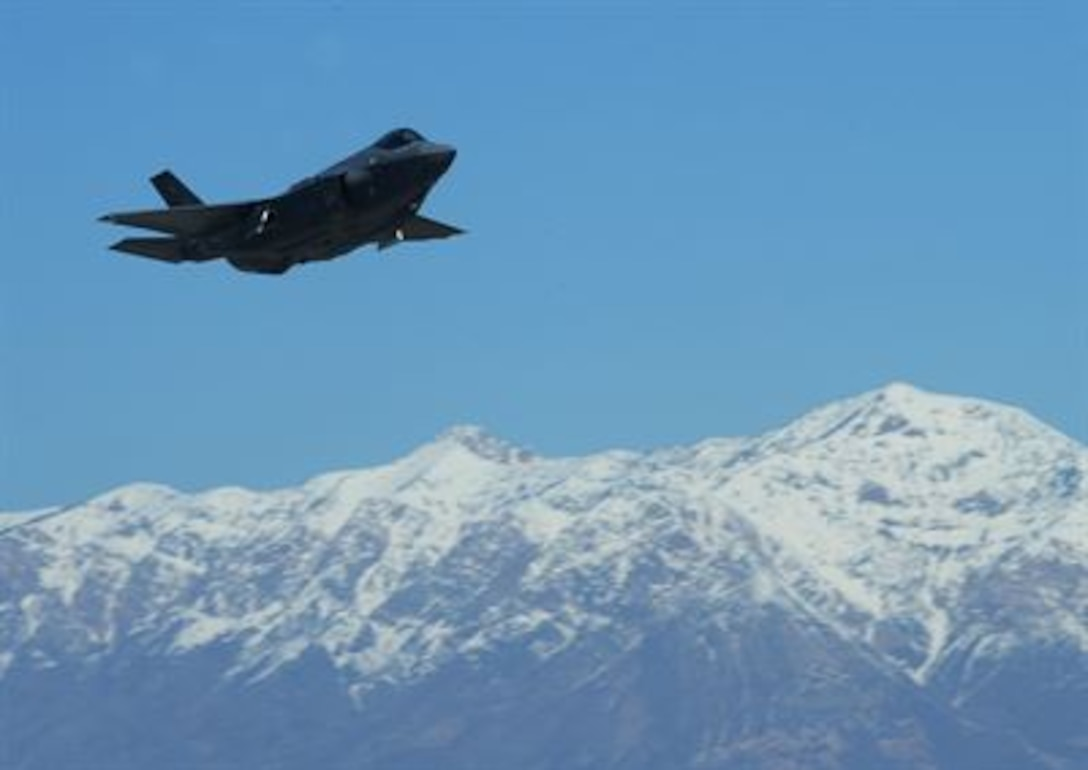 An F-35A Lightning II takes off from Hill Air Force Base, Utah, March 14, 2014. (U.S. Air Force photo/Airman 1st Class Joshua D. King)