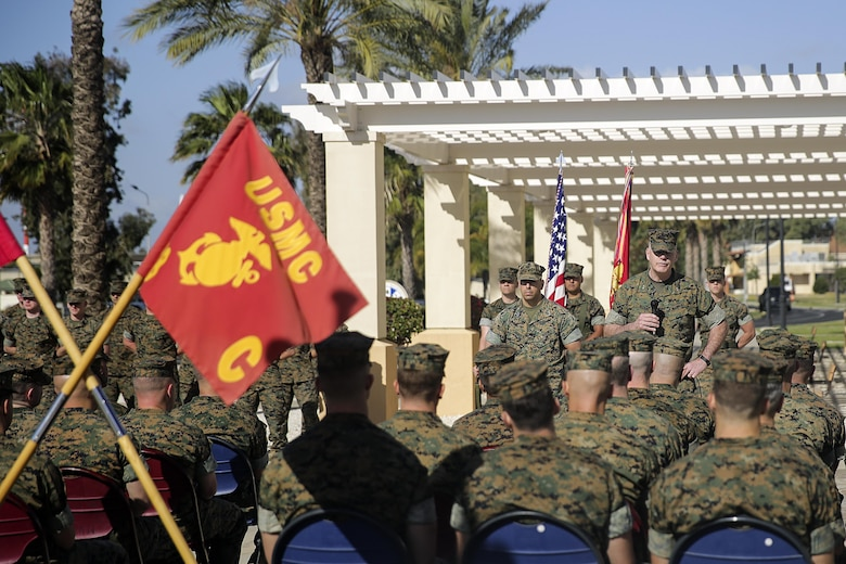Maj. Gen. Niel Nelson, the Commander of Marine Corps Forces Europe and Africa, speaks to Marines and sailors of Combat Logistics Battalion 2 after the transfer of authority ceremony on April 25, 2016, at Naval Air Station Sigonella, Italy.  Lt. Col. Matthew Hakola, the Commanding Officer for CLB-6, transferred authority of Special Purpose Marine Air-Ground Task Force Crisis Response-Africa Logistics Combat Element to Lt. Col. Randall Jones, the Commanding Officer of CLB-2.  (U.S. Marine Corps photo by Cpl. Alexander Mitchell/released)