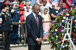 President Barack Obama bows his head after laying a wreath at the Tomb of the Unknown Soldier at Arlington National Cemetery in Arlington, Va., on Memorial Day, May 25, 2015. DoD photo by Navy Petty Officer 1st Class Daniel Hinton