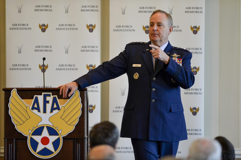 Air Force Chief of Staff Gen. Mark A. Welsh III addresses the audience during his speech at the Air Force Association's monthly Breakfast Series in Arlington, Va., May 26, 2016. The Air Force Association's Breakfast Series brings together industry partners, the international attaché corps, and both military and civilian leadership for informative briefings on a monthly basis for updates on relevant current initiatives. (U.S. Air Force photo/Tech. Sgt. Joshua L. DeMotts)