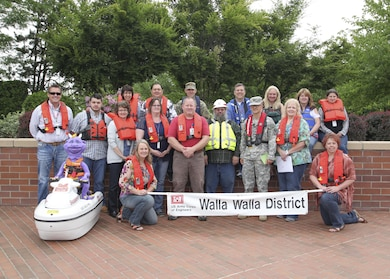 Employees with the U.S. Army Corps of Engineers, Walla Walla District, show their support for the North American Safe Boating Campaign 'Wear your lifejacket to work,' on May 20, 2016. Statistics show that 89 percent of those who drown at USACE lakes and rivers were not wearing a life jacket. Life jackets should be your family's closest companions as you enjoy the water this summer.