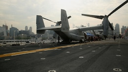 An MV-22B Osprey is displayed on the flight deck of the USS Bataan (LHD 5) for residents during Fleet Week New York, May 27, 2016. This year is the 28th year the New York has hosted Fleet Week.