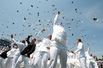 Newly commissioned officers in the Navy and Marine Corps celebrate after their graduation and commissioning at the U.S. Naval Academy in Annapolis, Maryland, May 27, 2016. Navy photo