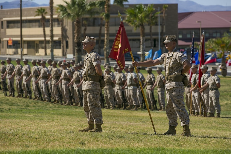 Marines with Marine Wing Support Squadron 374 stand at parade rest during a relief and appointment ceremony at Lance Cpl. Torrey L. Grey Field, May 19, 2016. (Official Marine Corps photo by Lance Cpl. Dave Flores)