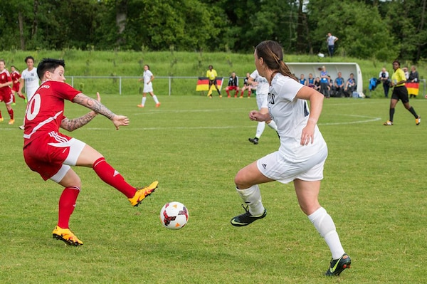 Team USA faces Germany in their opening match of the 2016 Conseil International du Sport Militaire (CISM) World Women's Football Cup in Rennes, France 24 May to 6 June.