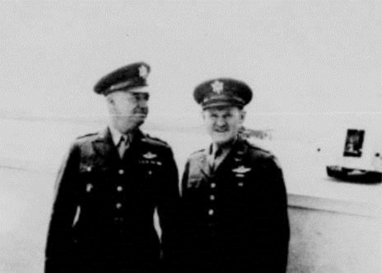 The Commanding General of the US Army's 2nd Air Force, Major General John F. Curry (left) is seen with the first commander of Portland Army Air Base, Colonel Joseph L. Stromme (right), during one of Gen. Curry's inspections of the base in 1941.  PAAB came under the operational control of the 2nd Air Force, then-headquartered at Fort Gorge Wright, Spokane, Washington.  Curry later served as the first commander of the Civil Air Patrol.  (U.S. Air Force photo)
