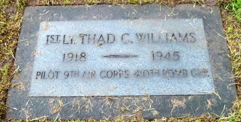Thad C. Williams, a charter member of Oregon's 123rd Observation Squadron, became a pilot during World War II and was killed in action in Europe in March, 1945.  He is buried at the Riverview Cemetery, in Portland, Oregon.  (Courtesy Mr. James Burke)