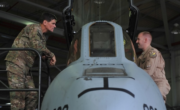 U.S. Army Gen. Joseph L. Votel, Commander, United States Central Command speaks with a A-10 Thunderbolt II pilot at Incirlik Air Base, Turkey during a visit on May 23, 2016.