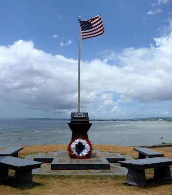 The RAIDR 21 monument, located in Adelup, Guam, honors six B-52 Stratofortress aviators who lost their lives during a training mission and were slated to perform a flyover in support of Guam's Liberation Day July 21, 2008. The monument received modifications from Alex Wood, a boy scout, who constructed a retaining wall around the monument, painted the surrounding area and cleaned the monument. (U.S. Air Force photo by Staff Sgt. Benjamin Gonsier)