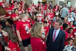 Defense Secretary Ash Carter speaks with Bonnie Carroll, president of the Tragedy Assistance Program for Survivors, or TAPS, while welcoming more than 350 TAPS members to the Pentagon, May 27, 2016, for a night of fun and remembrance to coincide with Memorial Day weekend. TAPS offers support to people who have lost a family member serving in the military. DoD photo by EJ Hersom