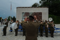 Members of the Luxembourg Army Band play their country's national anthem during a Memorial Day ceremony at the Luxembourg American Cemetery and Memorial in Luxembourg, May 28, 2016. The holiday serves as an opportunity to pause and remember the sacrifices of more than one million Soldiers, Sailors, Airmen, Marines and Coast Guardsmen who gave their lives in defense of freedom. (U.S. Air Force photo by Staff Sgt. Joe W. McFadden/Released)