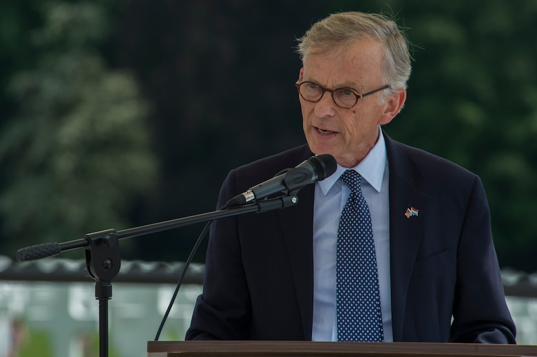David McKean, U.S. ambassador to Luxembourg, speaks during a Memorial Day ceremony at the Luxembourg American Cemetery and Memorial in Luxembourg, May 28, 2016. The first official Memorial Day observance occurred at Arlington National Cemetery May 30, 1868, to honor and decorate the graves of those who died during the Civil War. (U.S. Air Force photo by Staff Sgt. Joe W. McFadden/Released)