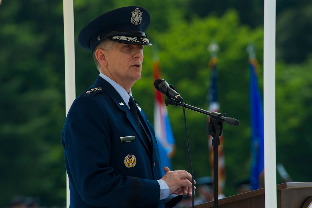 U.S. Air Force Lt. Gen. Timothy Ray, 3rd Air Force and 17th Expeditionary Air Force commander, speaks during a Memorial Day ceremony at the Luxembourg American Cemetery and Memorial in Luxembourg, May 28, 2016. The holiday serves as an opportunity to pause and remember the sacrifices of more than one million Soldiers, Sailors, Airmen, Marines and Coast Guardsmen who gave their lives in defense of freedom. (U.S. Air Force photo by Staff Sgt. Joe W. McFadden/Released)