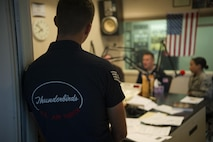 Members of the U.S. Air Force Thunderbirds visit KCLV for a radio interview May 27, 2016, at Clovis, N.M. The 2016 CAFB Air Show is an opportunity to celebrate the long-standing relationship between the 27th Special Operations Wing and the High Plains community. (U.S. Air Force photo/Airman 1st Class Kai White)